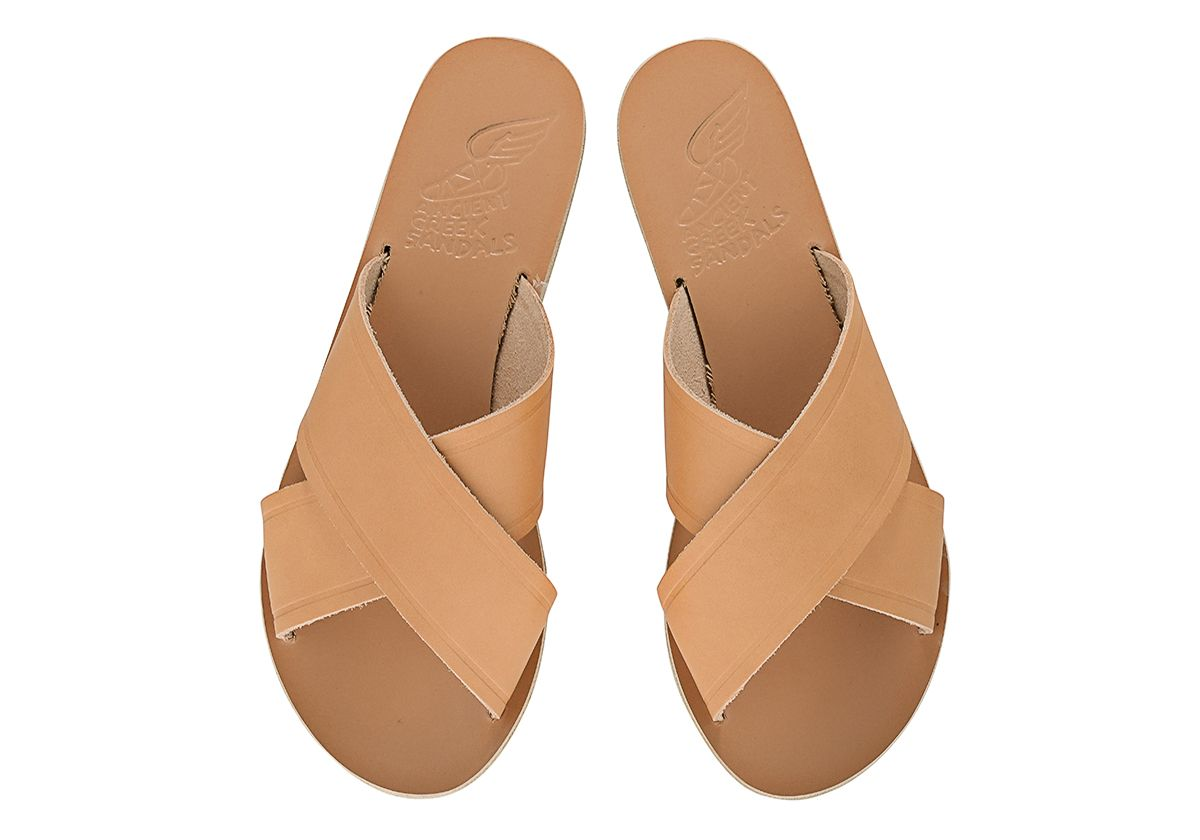 Thais Metallic Leather Slides Ancient Greek Sandals ZDUGWAB